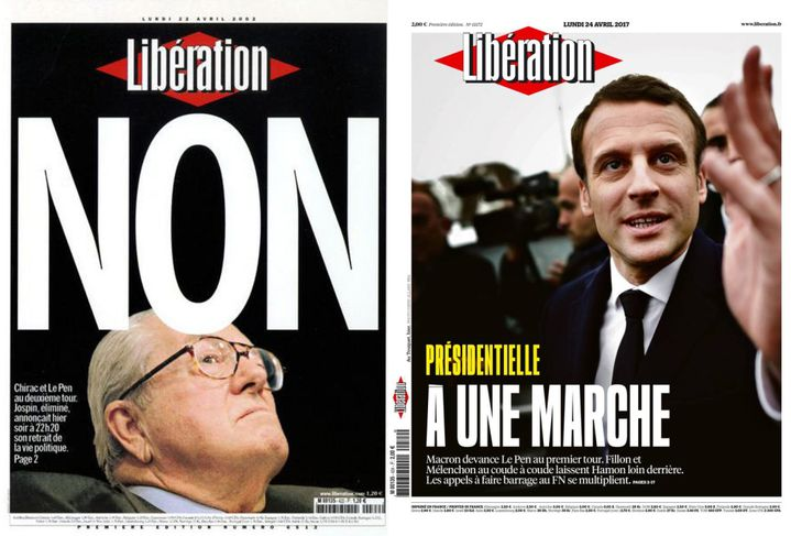 """Unes du quotidien """"Libération""""du 22 avril 2002 et du 24 avril 2017. (LIBERATION)"""