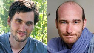 Le photographe de presse Pierre Torrès (G) et le reporter Nicolas Hénin, tous deux enlevés le 22 juin 2013 en Syrie. (FAMILLE TORRES / BENOIT SCHAEFFER / AFP)