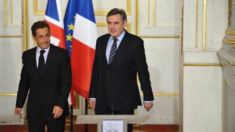 Nicolas Sarkozy et Gordon Brown le 15 septembre 2009 à l'Elysée (AFP PHOTO / ERIC FEFERBERG)