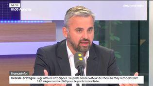 Alexis Corbière, porte-parole de La France insoumise, le 9 juin 2017. (FRANCEINFO)