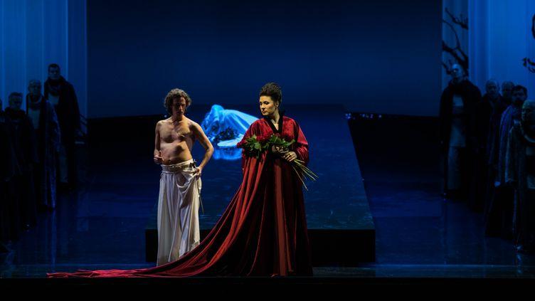 Valentin Fruitier (Cerf Blanc) et Marina Rebeka (Norma), 24 septembre 2019 (Théâtre du Capitole / Cosimo Mirco Magliocca)