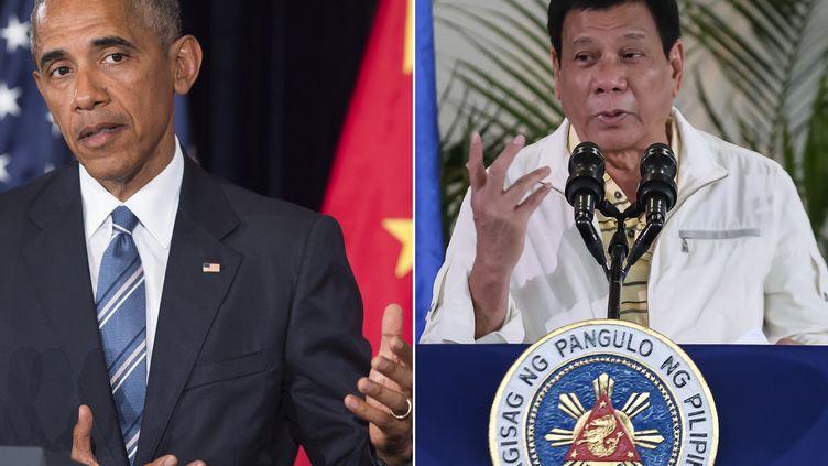 A gauche, le président américain Barack Obama lors d'une conférence de presse à Hangzou (Chine), le 5 septembre 2016. Adroite, le président philippinRodrigo Duterte lors d'une conférence de presse à Davao (Philippines), le même jour. (SAUL LOEB / AFP)