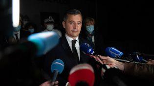 Le ministre de l'Intérieur, Gérald Darmanin, à Avignon (Vaucluse), le 5 mai 2021. (CLEMENT MAHOUDEAU / AFP)