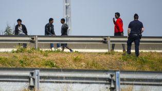 Des migrants tentent d'accéder aux camions en direction de l'Angleterre, le long de la route d'accès au port de Calais (Pas-de-Calais), le 21 juin 2017. Les forces de l'ordres sontprésentes. (DENIS CHARLET / AFP)