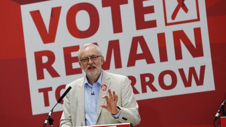 """Jeremy Corbyn, leader du parti travailliste, en campagne pour le """"remain"""", mercredi 22 juin 2016, à Londres. (STEFAN WERMUTH / REUTERS)"""