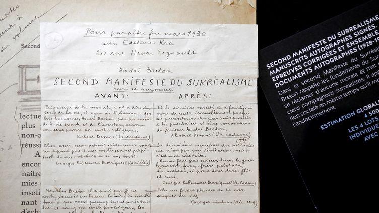 Le manuscrit du Second Manifeste du Surréalisme figure parmi les quelques 130 000 manuscrits qui seront mis aux enchères. (BENOIT TESSIER / X02011)
