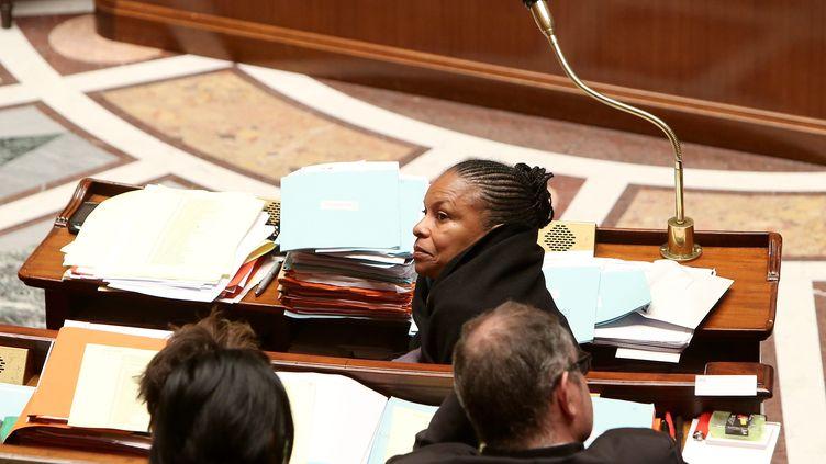 La ministre de la Justice, Christiane Taubira, en session de nuit à l'Assemblée nationale, le 4 février 2013. (MAXPPP)