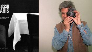 """Bernard Plossu à Madrid en mars 2000 et la couverture de son livre """"Plossu Paris""""  (A droite Photo Luis Torres / EFE Newscom / MaxPPP)"""