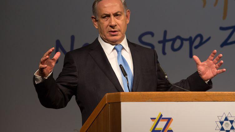 Benyamin Nétanyahou lors du 37e Congrès sioniste à Jérusalem (Israël), le 20 octobre 2015. (MENAHEM KAHANA / AFP)