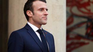 Emmanuel Macron sur le perron de l'Elysée, à Paris, le 23 janvier 2019. (MUSTAFA YALCIN / ANADOLU AGENCY / AFP)