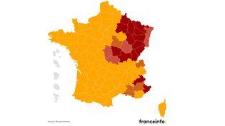 Les territoires concernés par un couvre feu à 18 heures à partir du 10 janvier sont pour l'instant la Côte-d'Or, le Haut-Rhin,le Bas-Rhin,le Cher et l'Allier. (FRANCEINFO)