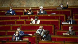 Les députés à l'Assemblée nationale à Paris, lors de l'étude de la loi climat, le 10 mars 2021. (HUGO PASSARELLO LUNA / HANS LUCAS / AFP)