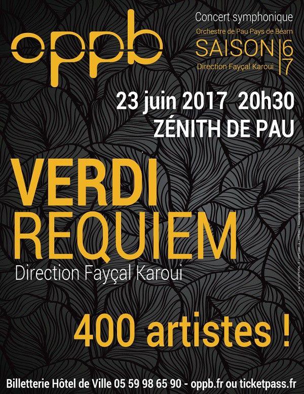 Affiche du concert donné par les Orchestres de Pau et de Pampelune. Requiem de Verdi