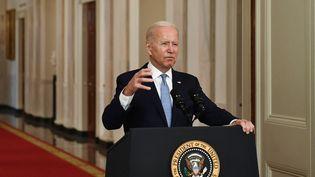 Le président américain, Joe Biden, lors d'une discours sur la fin de la guerre en Afghanistandepuis la Maison blanche à Washington, le 31 août 2021. (BRENDAN SMIALOWSKI / AFP)