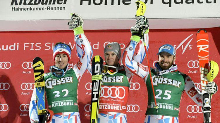 Le triplé français sur le podium de Super combiné à Kitzbühel, Alexis Pinturault, vainqueur, devant Victor Muffat-Jeandet et Thomas Mermillod Blondin