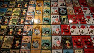 Un mur de couvertures d'albums de Tintin lors d'un exposition consacrée à Hergé au Grand Palais, à Paris, le 26 septembre 2016. (SIPA)