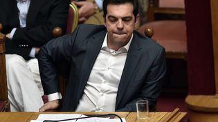 Le Premier ministre grec, Alexis Tsipras, dans l'hémicycle du Parlement, à Athènes (Grèce), le 15 juillet 2015. (ARIS MESSINIS / AFP)