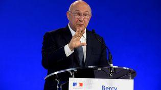 Michel Sapin, ministre del'Economie et des Finances, lors de sa conférence sde presse le 20 septembre 2016 à Bercy (ERIC PIERMONT / AFP)