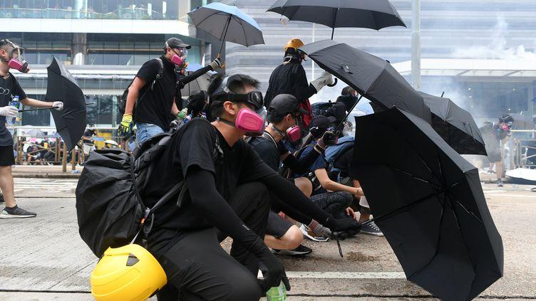 Des manifestants prodémocratie à Hong Kong, le 29 octobre 2019. (MOHD RASFAN / AFP)