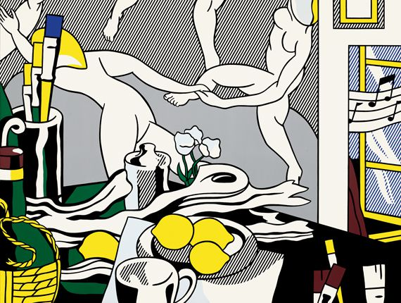 """Artist's Studio 'The Dance'"" [Atelier d'artiste ""La Danse""], 1974.Huile et Magna sur toile,244,3 x 325,5 cm.The Museum of Modern Art, New York.Gift of Mr. and Mrs. S. I. Newhouse, Jr., 1990. (ESTATE OF ROY LICHTENSTEIN NEW YORK / ADAGP, PARIS, 2013)"