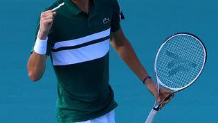 La joie du numéro deux mondial, Daniil Medvedev, lors du Masters 1000 de Miami, dimanche 28 mars 2021. (MARK BROWN / GETTY IMAGES NORTH AMERICA)