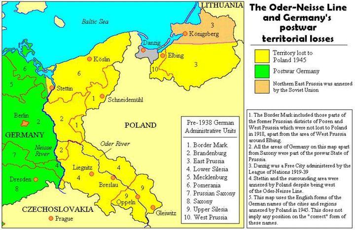 Pour compenser l'annexion soviétique du tiers est de la Pologne d'avant-guerre, les Alliés attribuent des provinces allemandes à Varsovie. (Adam Carr)