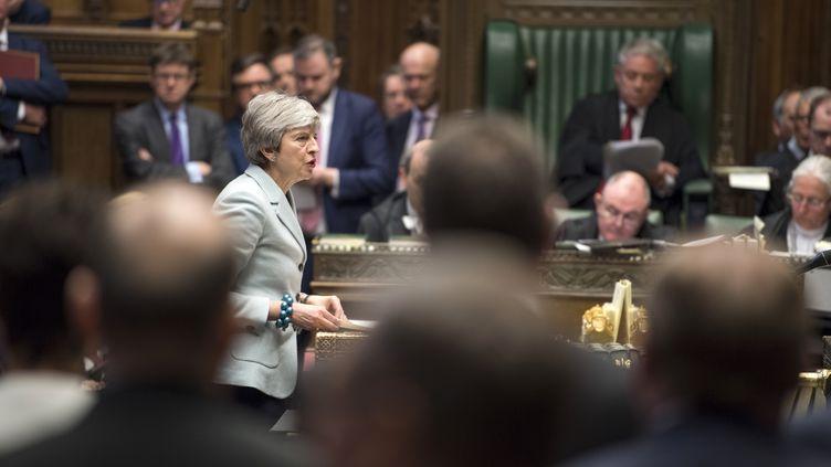 La Première ministre britannique, Theresa May, s'exprime sur le Brexit devant le parlement, le 25 mars 2019. (MARK DUFFY / UK PARLIAMENT / AFP)