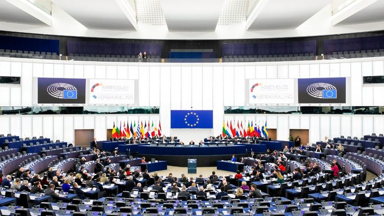 Une séance plénière au Parlement européen, le 5 février 2020 à Strasbourg (Bas-Rhin). (PHILIPP VON DITFURTH / DPA)