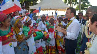 Emmanuel Macron est en visite à Mayotte, le 22 octobre 2019. (SAMUEL BOSCHER / AFP)