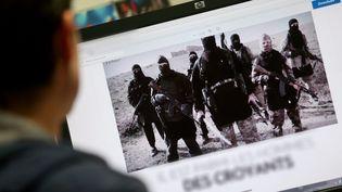 Un homme consulte un site jihadiste (Photo d'illustration). (FABRICE ANTERION / MAXPPP)