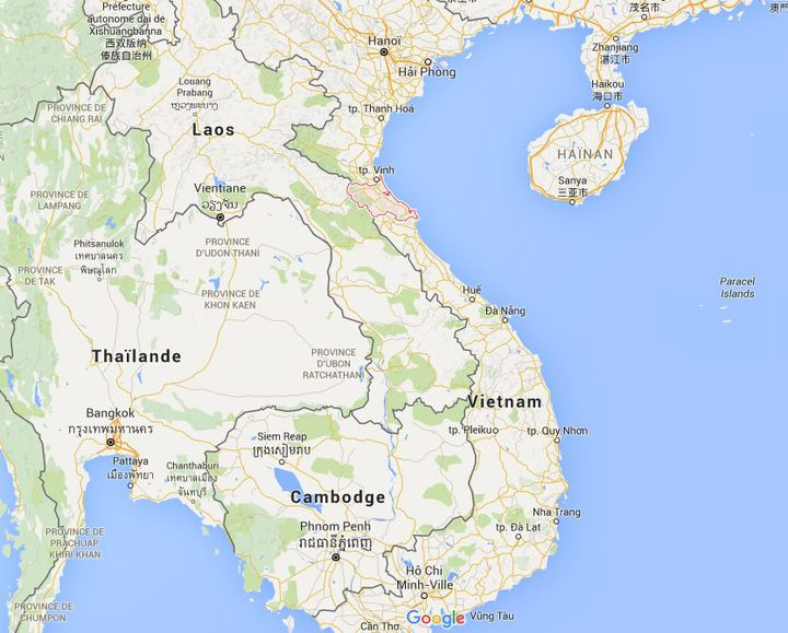 Capture d'écran Google Maps de la province de Ha Tinh, dans le centre du pays, le 6 mai. (GOOGLE MAPS)
