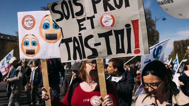 Demonstration by teachers against the Blanquer law. Paris, FRANCE, March 30, 2019. Manifestation des enseignants contre la loi Blanquer, qui vise à réformer le fonctionnement du primaire,. Paris, 30 mars 2019. (DENIS MEYER / HANS LUCAS)