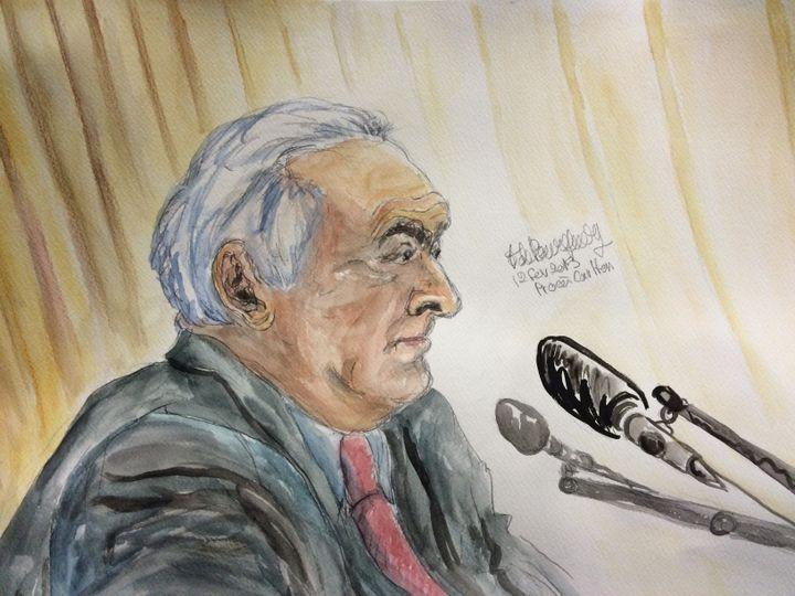 Dominique Strauss-Kahn, le 12 février 2015 au tribunal correctionnel de Lille (Nord). (ELISABETH DE POURQUERY / FRANCETV INFO)
