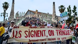 Une manifestation d'intermittents du spectacle, le 16 juin 2014 à Marseille. (GEORGES ROBERT / CITIZENSIDE.COM / AFP)