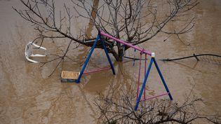 Un jardin inondé à Malgrat de Mar, près de Gérone en Espagne, pendant la tempête Gloria, le 22 janvier 2020. (JOSEP LAGO / AFP)