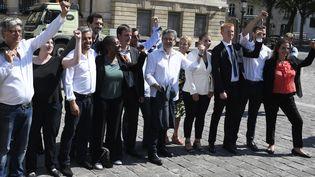 Le leader de La France insoumise et nouveau député Jean-Luc Mélenchon a fait une arrivée groupée mardi 20 juin à l'Assemblée nationale avec une partie des 16 autres élus LFI. (MAXPPP)