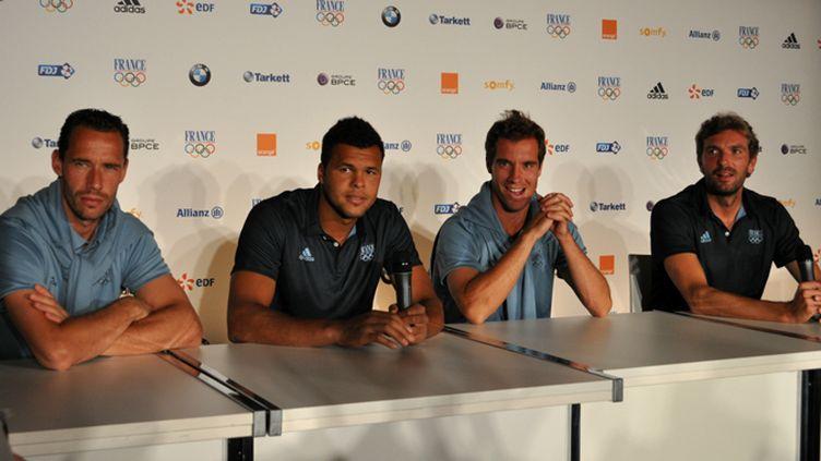 Michael Llodra, Jo-Wilfried Tsonga, Richard Gasquet et Julien Benneteau, les quatre médaillés français en double