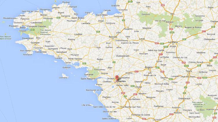 Le tireur présumé s'est donné la mort au nord de Nantes (Loire-Atlantique), mardi matin. (FRANCETV INFO / GOOGLE MAPS)
