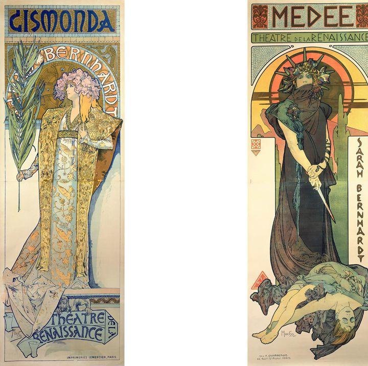 """Alphonse Mucha, """"Gismonda"""" et """"Médée"""", lithographies en couleur, Fondation Mucha, Prague  (Mucha Trust 2018)"""