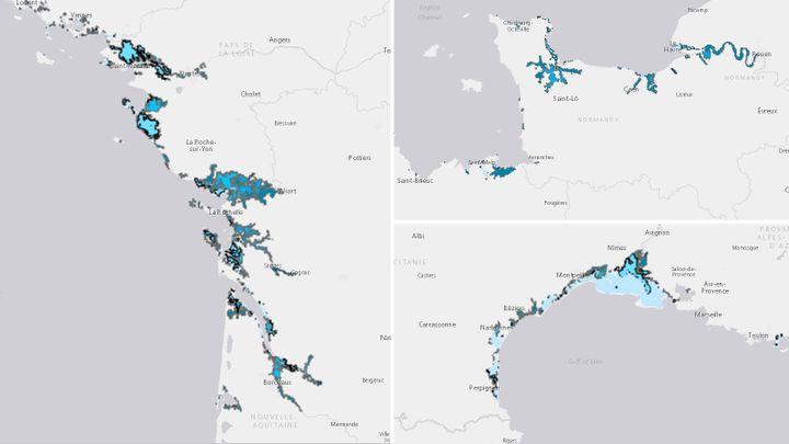 Zones habitéesdu littoral français situées entre 1 et 6 mètres au-dessus du niveau actuel de la mer. A gauche : Atlantique. En haut, à droite : Manche. En bas : Méditerranée.En bleu clair : 1m. En bleufonce : 6m. (AGENCE EUROPEENNE POUR L'ENVIRONNEMENT)