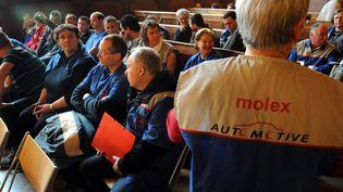 Des anciens salariés de l'usine Molex de Villemur-sur-Tarn (Haute-Garonne), à Toulouse, le 5 avril 2012. (MAXPPP)