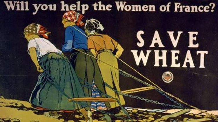 «Aiderez-vous les femmes de France? Sauvegardez le blé», demande cette affiche de propagande au public américain, dont le pays a déclaré la guerre à l'Allemagne en avril 1917 (illustration d'Edward Penfield, école américaine). (AFP - ANN RONAN PICTURE LIBRARY - PHOTO12)
