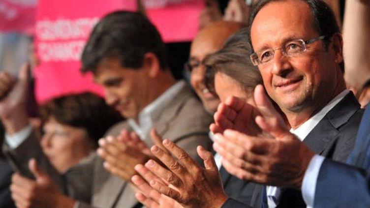 François Hollande, lors de la clôture de l'université d'été du PS, dimanche 28 août à La Rochelle. (PIERRE ANDRIEU / AFP)