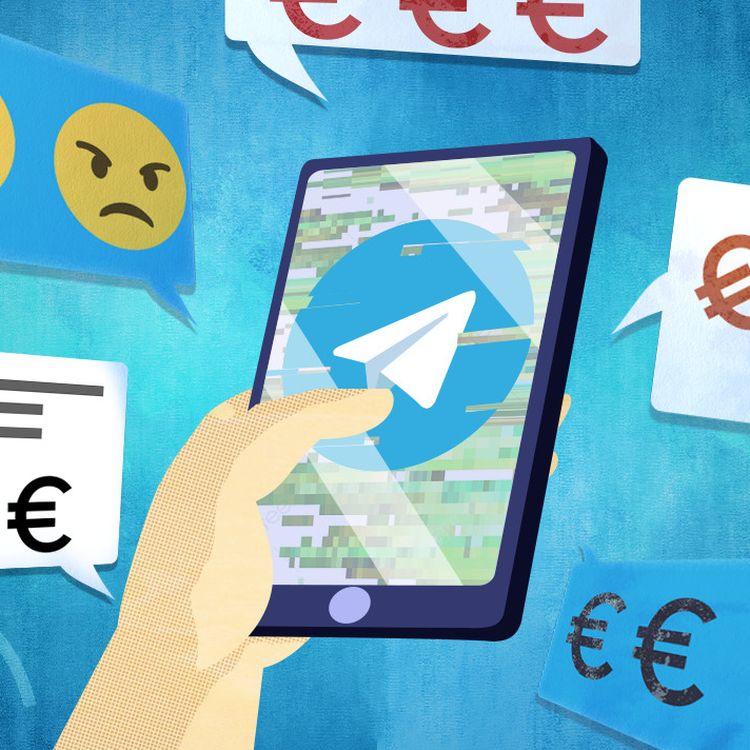 Sur l'application de messagerie Telegram, des escrocs appâtent leurs victimes avec des annonces frauduleuses. (PIERRE-ALBERT JOSSERAND / FRANCEINFO)