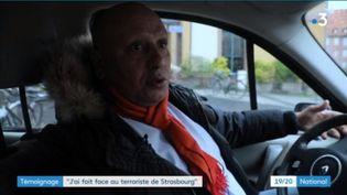 Mustapha Salhane, chauffeur de taxi, a transporté le terroristeCherif Chekatt à Strasbourg (Bas-Rhin), le jour de l'attaque du marché de Noël, le 11 décembre 2018. (FRANCE 3)