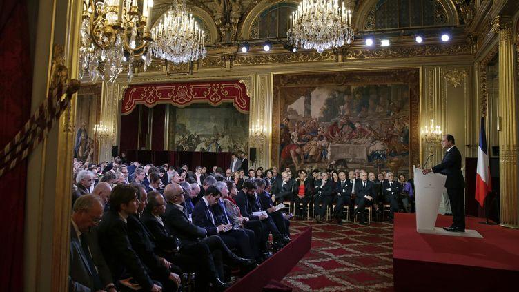 (La dernière conférence de presse de François Hollande, en janvier © REUTERS/Philippe Wojazer)
