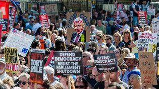 Des manifestants défilent contre le Premier ministre Boris Johnson, le 31 août 2019 à Londres (Royaume-Uni). (WIKTOR SZYMANOWICZ / NURPHOTO / AFP)