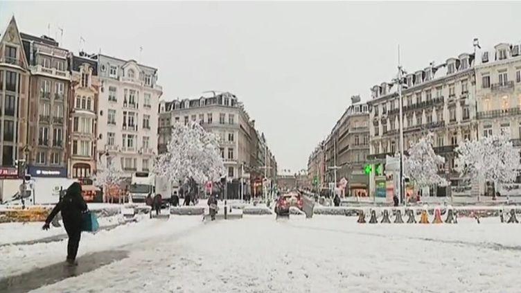 Lille sous la neige le 23 janvier 2019 (CAPTURE D'ÉCRAN FRANCE 3)