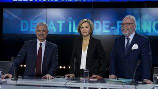 Claude Bartolone, Valérie Pécresse et Wallerand de Saint Just, candidats aux régionales en Ile-de-France, lors d'un débat à Boulogne-Billancourt (Hauts-de-Seine), le 9 décembre 2015. (KENZO TRIBOUILLARD / AFP)
