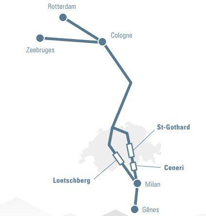 Le système des NLFA (nouvelles lignes ferroviaires alpines), avec les tunnels du Loetschberg et du Gothard, permet de traverser les Alpes suisses en train (ferroutage notamment) entre l'Allemagne et l'Italie. (Gotardo2016)
